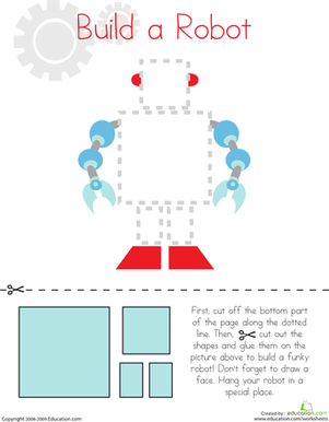 Cutting Squares and Rectangles: Build a Robot | Fine motor ...