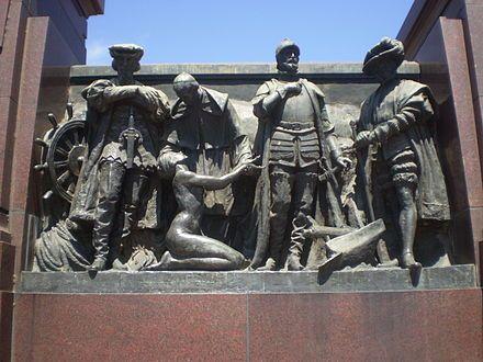 Monument To Sebastián Gaboto Bartolomé De Las Casas Juan De Garay And Pedro De Mendoza In The Costanera Sur A Permanent Greek Statue Statue Lion Sculpture