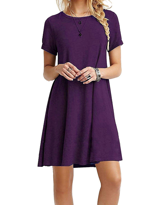 Molerani womenus casual plain simple tshirt loose dress m short