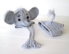 Amigurumi Elephant Pattern : Crochet pattern jeffery jr. the elephant hat and diaper cover baby