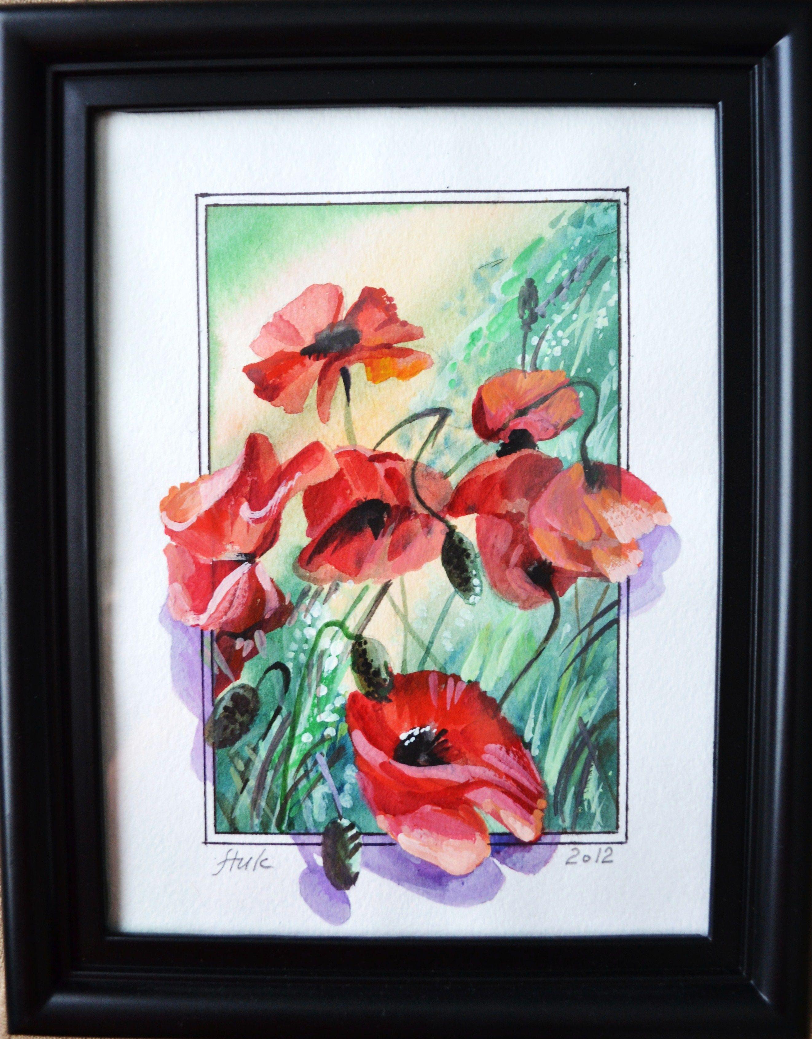 Price 40 Poppies Watercolour Tempera 6 X 8 Https Www