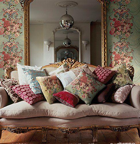 Wallpaper Designer Large Fl Urn Vintage Tapestry Look Gold Teal Plum Reds Co Uk Diy Tools French Sofafrench
