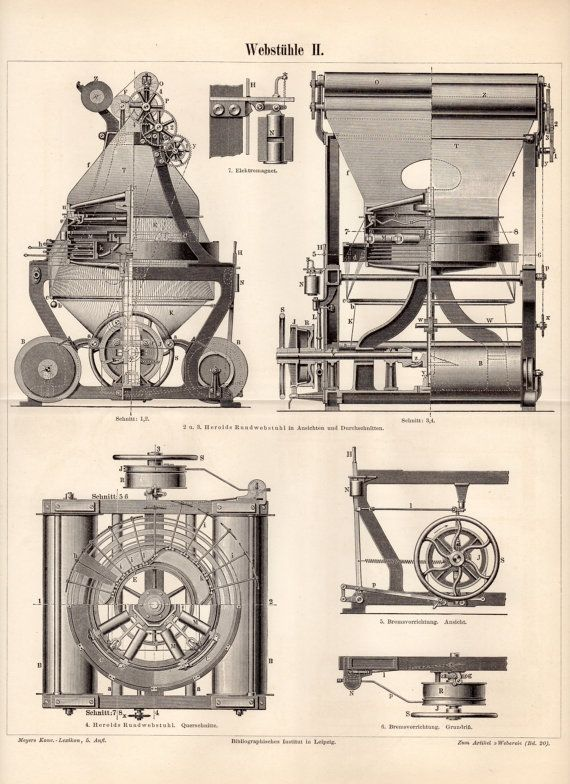 1900 weaving device antique print vintage by craftissimo on etsy 1900 weaving device antique print vintage by craftissimo on etsy blueprint artvintage drawingtechnical malvernweather