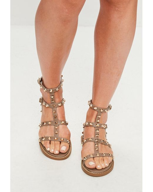 1267aff6d3a2 Women s Becky Studded Strappy Heel Gladiator Sandals - Tan 8.5 ...