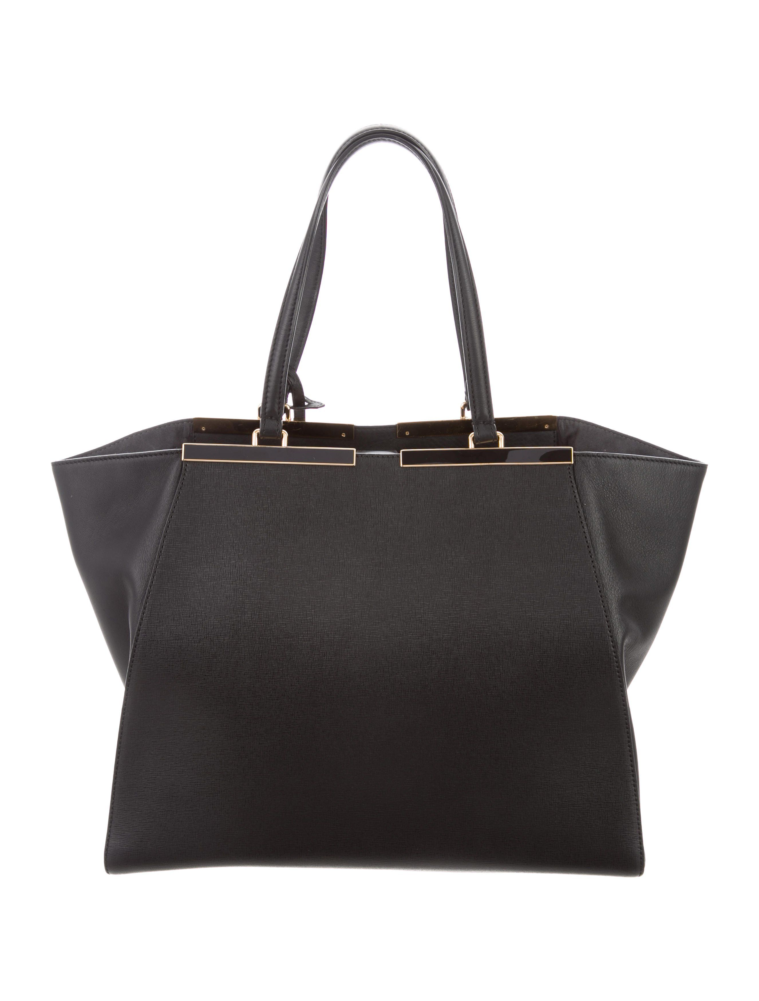 d0df635a8b0 Black leather Fendi Large 3Jours tote with gold-tone hardware, dual flat  shoulder straps, tonal suede lining, three pockets at interior walls; one  with zi