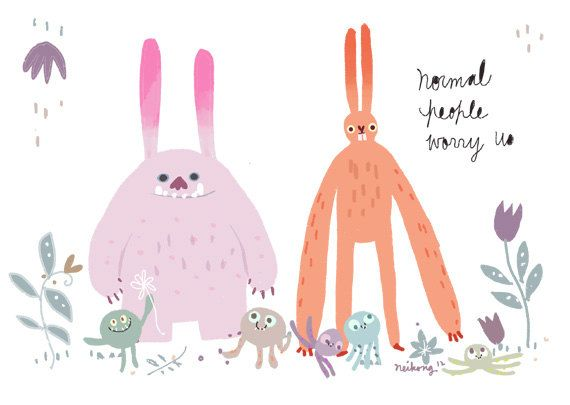 Bunny/ Rabbit Monster Print by neikoart on Etsy, $10.50