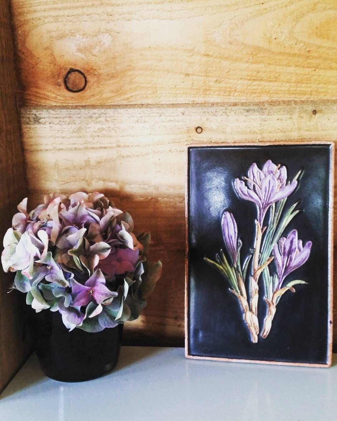 #karlsruhe #majolika #ceramic #tile #walldecor #Westgermany #flowers #hydrangea #homedecor #original #vintage #forsale by retro_loco