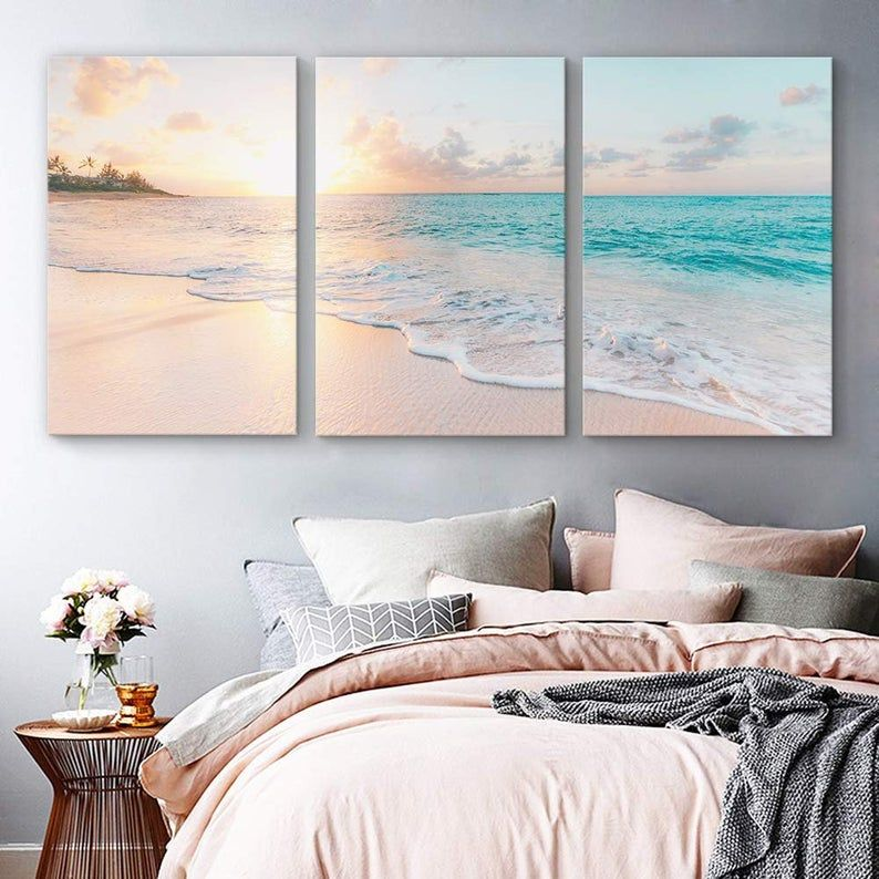 Wall26 3 Piece Canvas Wall Art For Living Room Bedroom Home Artwork Paintings Romantic Beach Ready To Hang In 2020 Living Room Art Living Room Bedroom Canvas Art Wall Decor