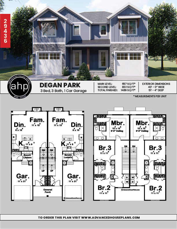 2 Story Multi Family Craftsman House Plan Degan Park Family House Plans Town House Floor Plan Craftsman House Plans