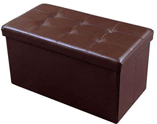 Jaf Home Faux Leather Folding Storage Ottoman Bench Foot Rest Brown Color 30x15x15 Inch Trong 2020
