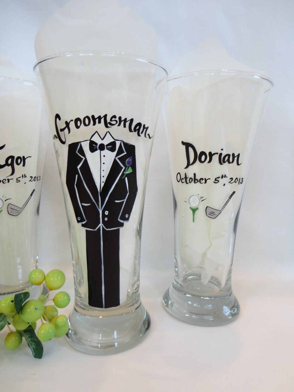 PERSONALIZED BRIDESMAID GLASSES – Hand Painted to replicate YOUR EXACT details of your wedding gown, bridesmaid dresses, tuxes flowers and other details of your wedding {www.samdesigns.net} $20 ea.