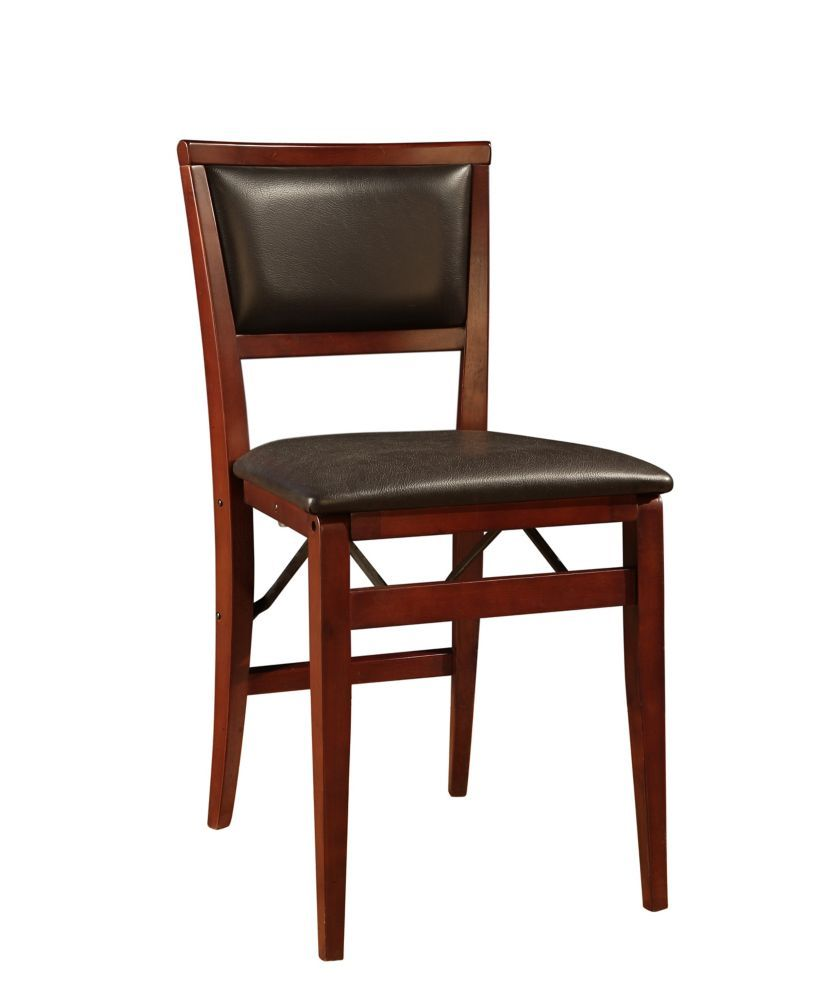 Padded Back Folding Chair Espresso Folding Dining