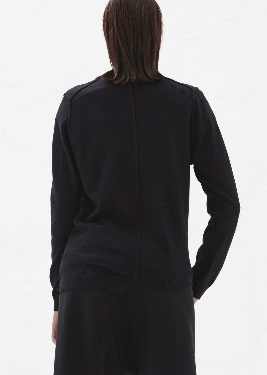 Asymmetrical pullover sweater in a black cotton and wool blend ...