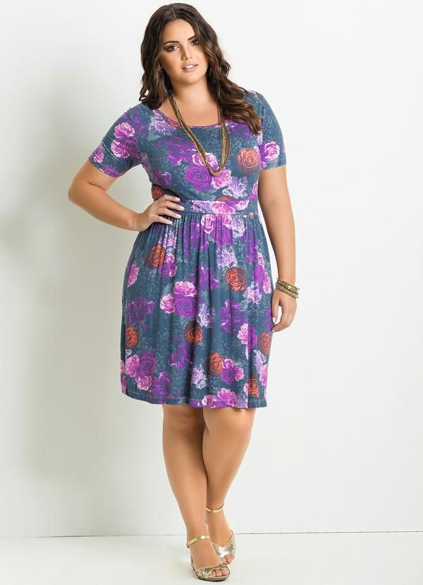 Vestido Floral Manga Curta Plus Size - Posthaus | Plus fashion-Modsd ...