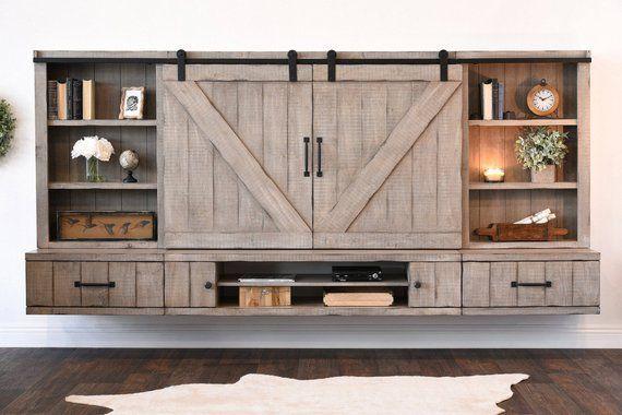 Barn Door Floating Tv Stand Entertainment Center Farmhouse Driftwood Gray