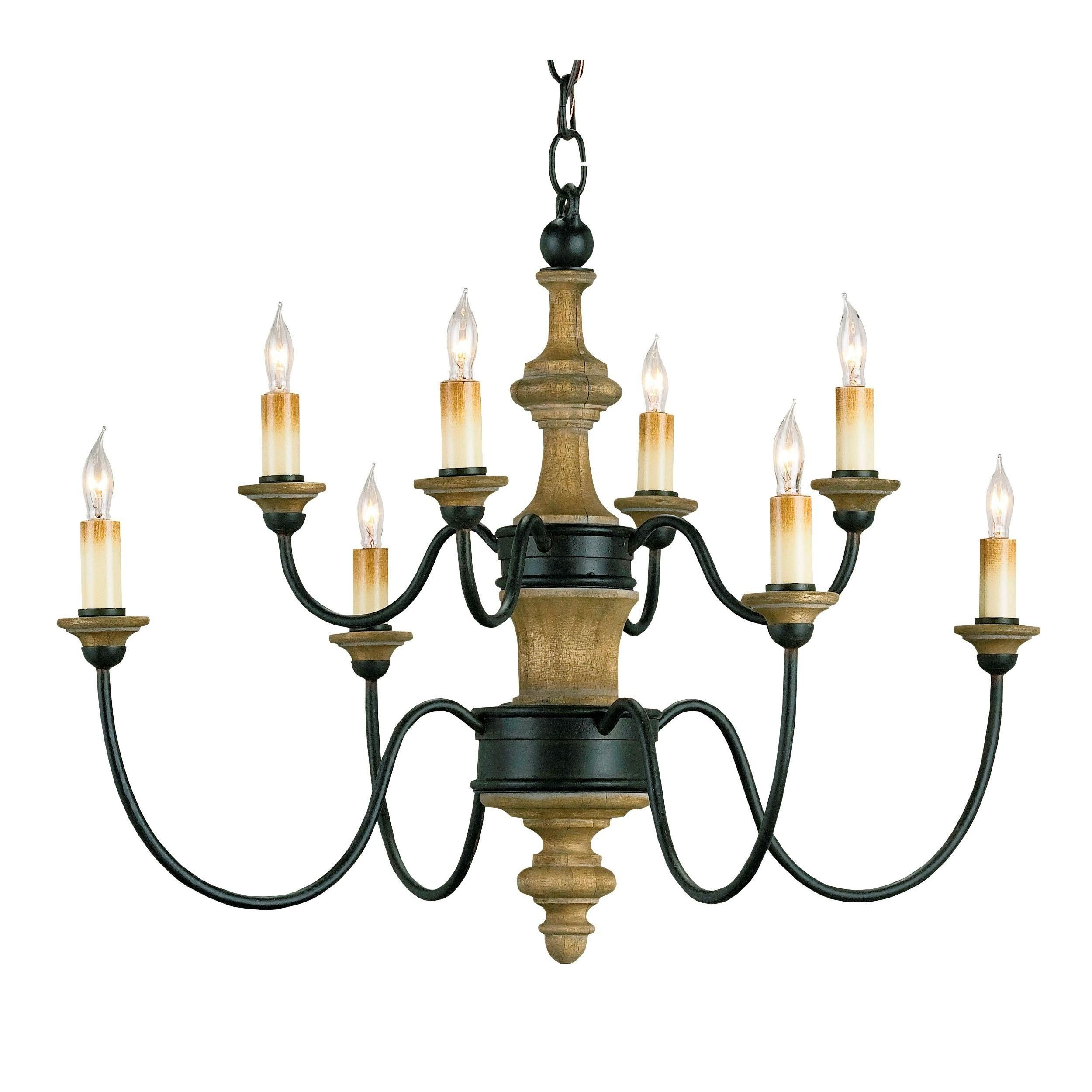 Wrought Iron And Wood Chandelier By
