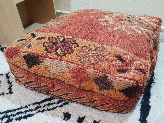 Vintage Pouf Kilim Pouf Moroccan Pouf Handmade Pouf Square
