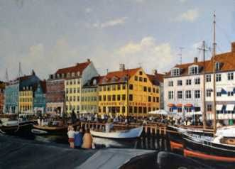 Kunstsamlingen | Artist: Jan Schuler | Title: Familiehygge i Nyhavn | Height: 65cm,  Width: 92cm | Find it at kunstsamlingen.com  #kunstsamlingen #kunst #artcollection #art #painting #maleri #galleri #gallery #onlinegallery #onlinegalleri #kunstner #artist #danishartists #janschuler #galleriexpo