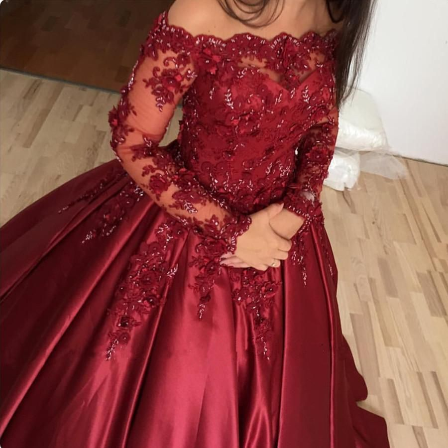 Burgundy Satin Formal Long Sleeves Ball Gowns Featuring Off Shoulder Neckline And 3d Flowers Beaded Lace Up Burgundy Wedding Dress Ball Dresses Quince Dresses