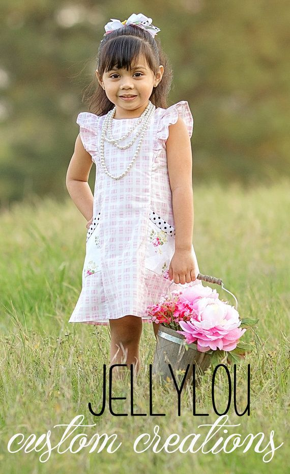 Pink Picnic Flutter Dress Easter dress spring by JellyLouCreations
