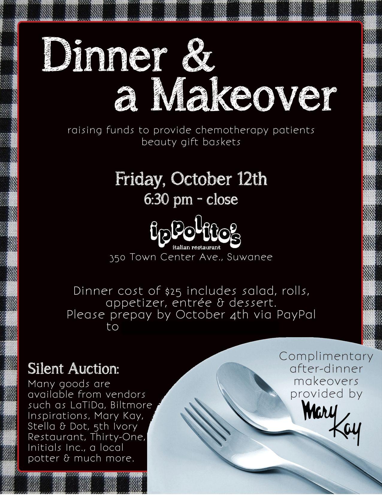 Flyer Dinner A Makeover Beauty Gift Basket Fundraiser Dinner Flyer