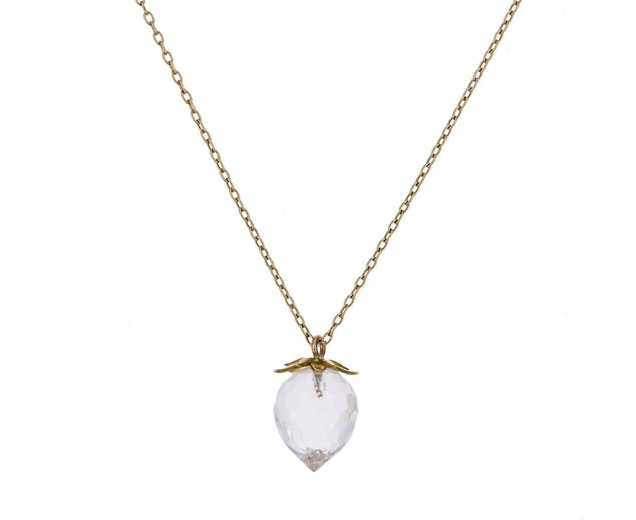 Crystal quartz strawberry pendant necklace jewelry gems
