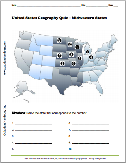 Midwestern States Map Quiz States include Illinois Wisconsin