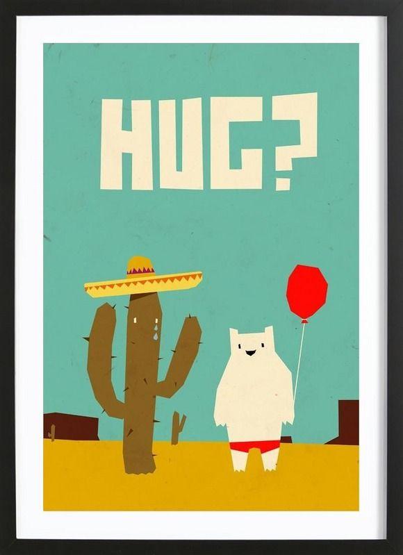 Hug als framed poster door yetiland