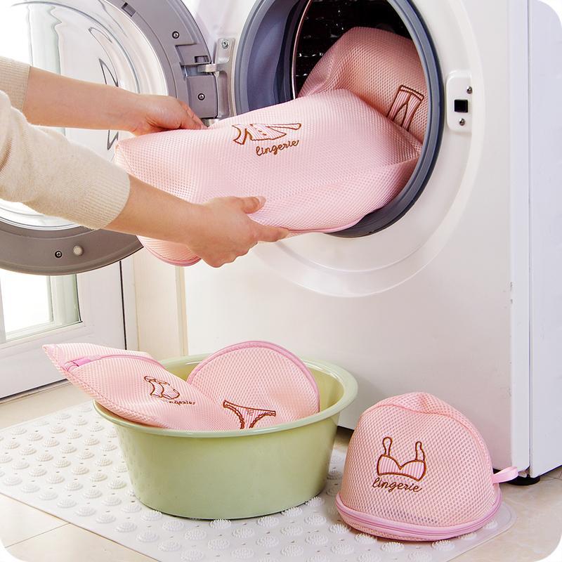 Zippered Mesh Laundry Foldable Wash Bags Clothes Washing Machine