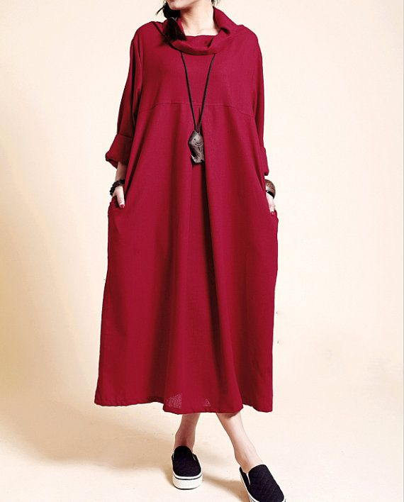red dress dark Fitting Loose dress Maxi Kaftan Linen dress in wRPx0HUU
