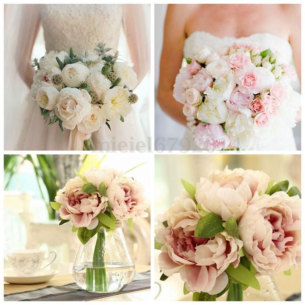 1 Bouquet 5 Head Artificial Peony Silk Flower Home Wedding Party
