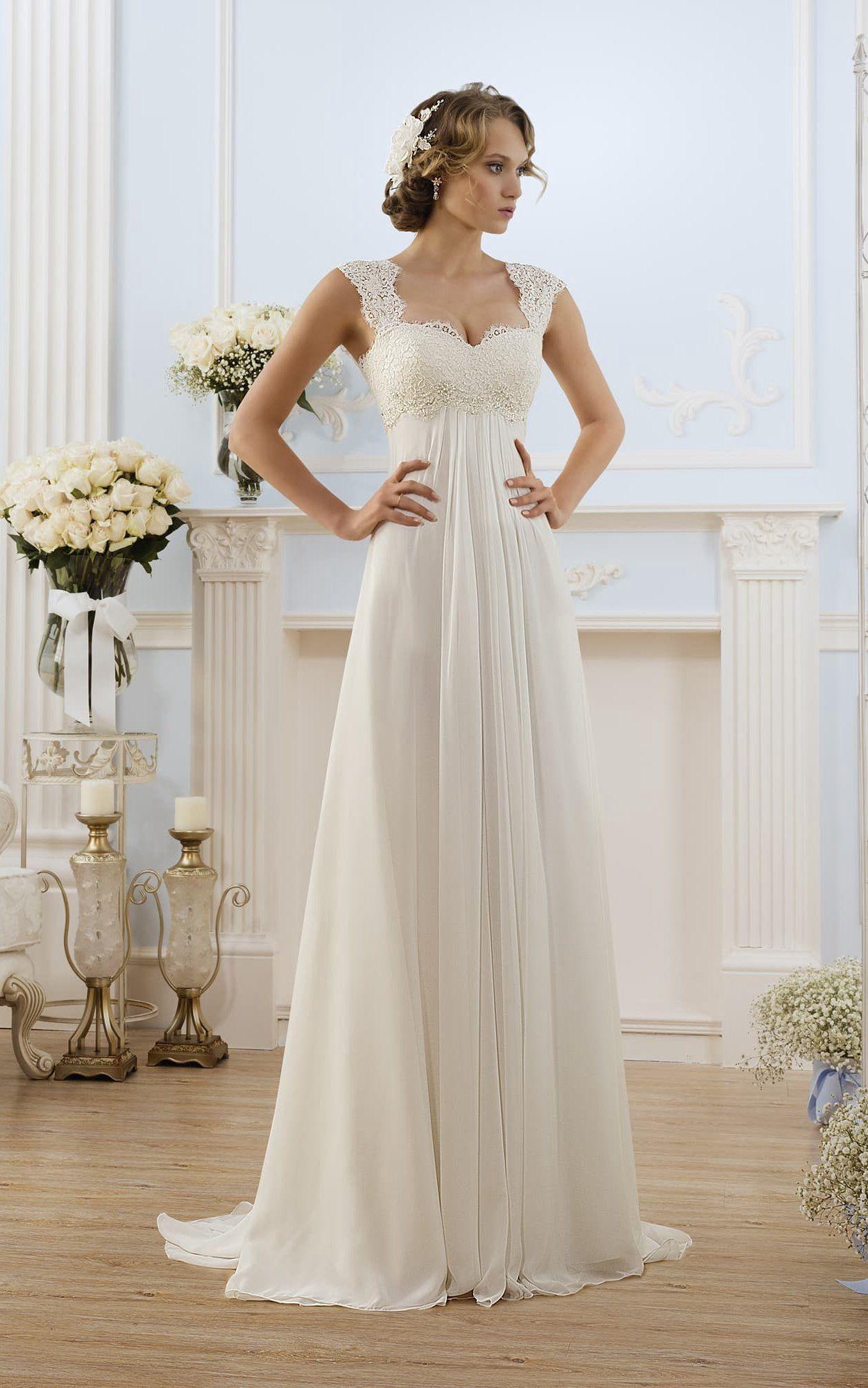 Aline long capsleeve keyhole chiffon dress with lace
