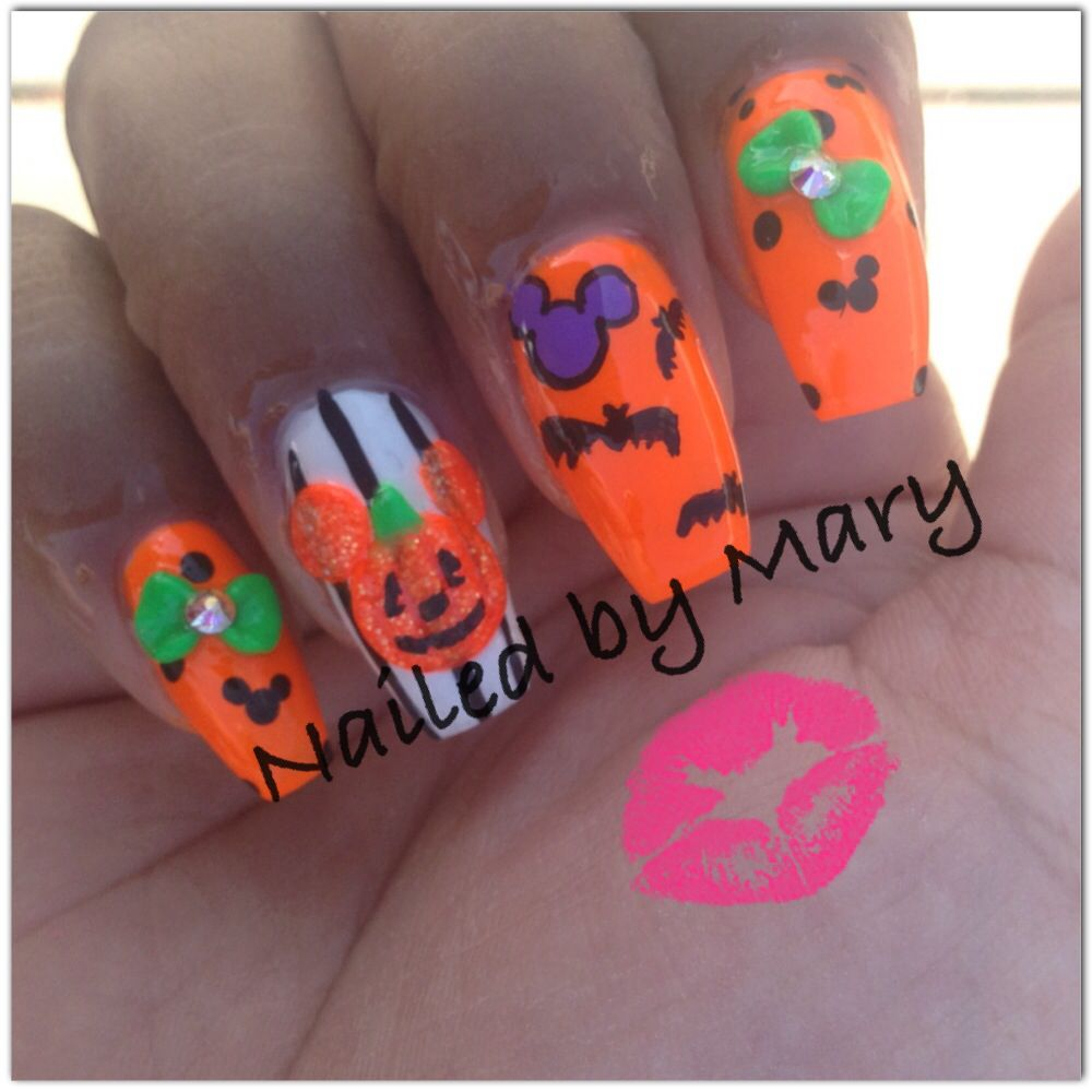 Disney Mickey Mouse pumpkin halloween coffin nails | Nailed by Mary ...
