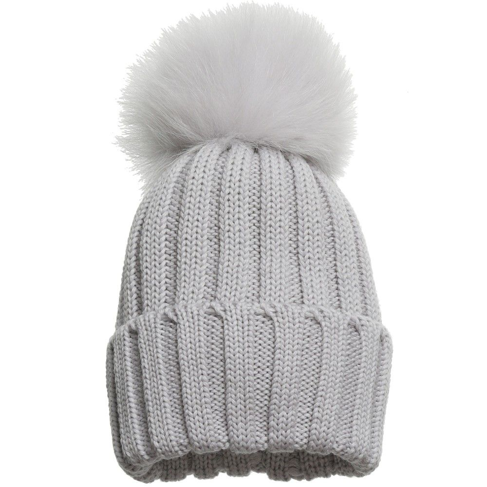 48b0eeeab3e Catya Pale Grey Wool Hat with Fur Pom Pom