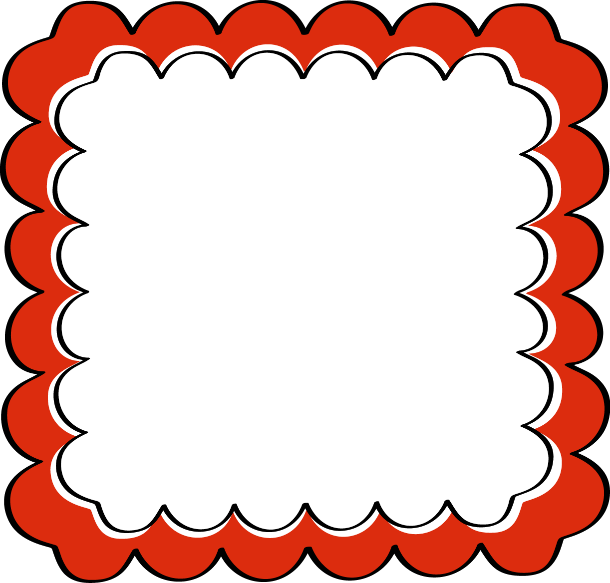 Red Scalloped Frame Png 1222 1168 Free Clip Art Frame Clipart Borders And Frames