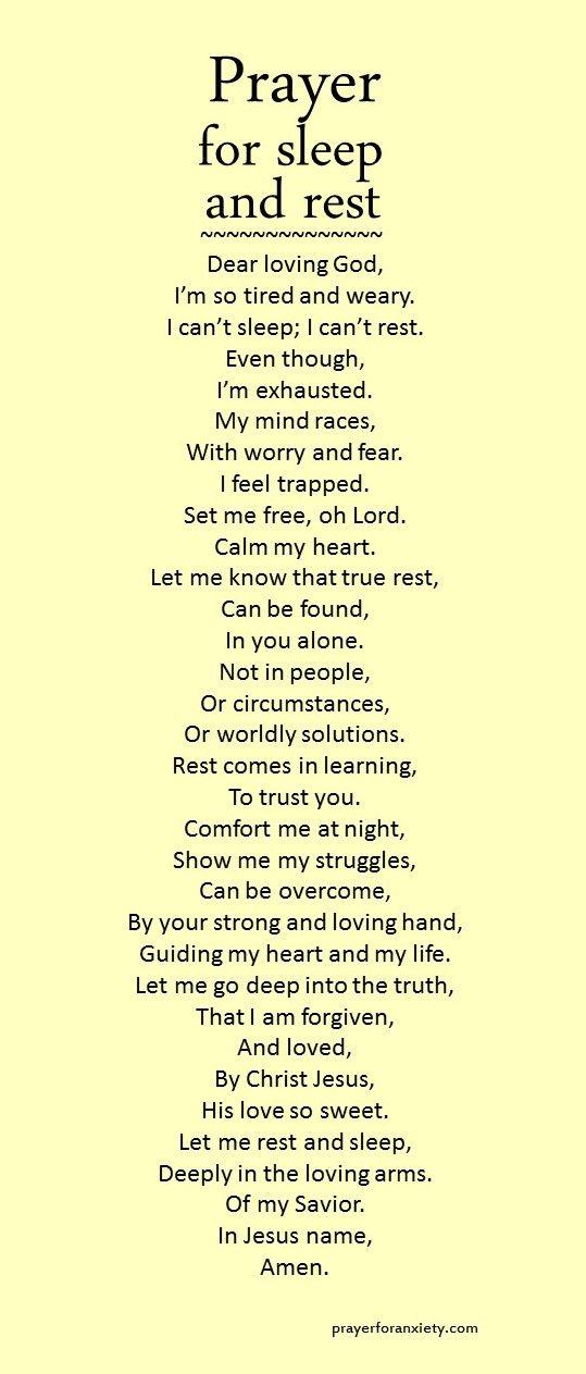 Prayer for sleep and rest Walk With Me Faith prayer