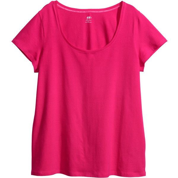 H&M+ Jersey top (37 GTQ) ❤ liked on Polyvore featuring tops, tees, plus size, cerise, pink plus size tops, plus size cotton tops, jersey top, plus size tops and cotton jersey