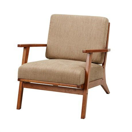 Madison Park Axis Exposed Wood Accent Chair Mushroom See