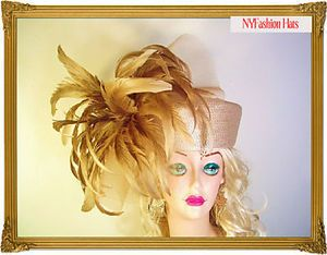 Beige Champagne Exotic Pillbox Designer Fashion Week Hat Brides Anastasia