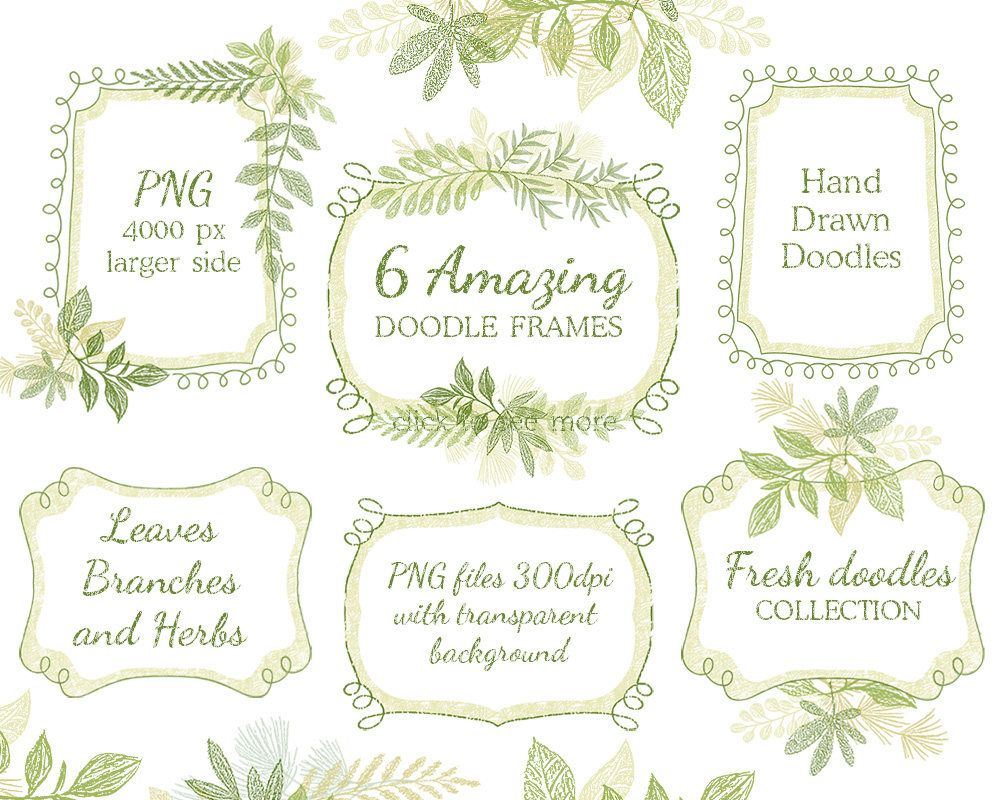 Hand drawn doodle leaf floral Frames arrangements leaves wedding