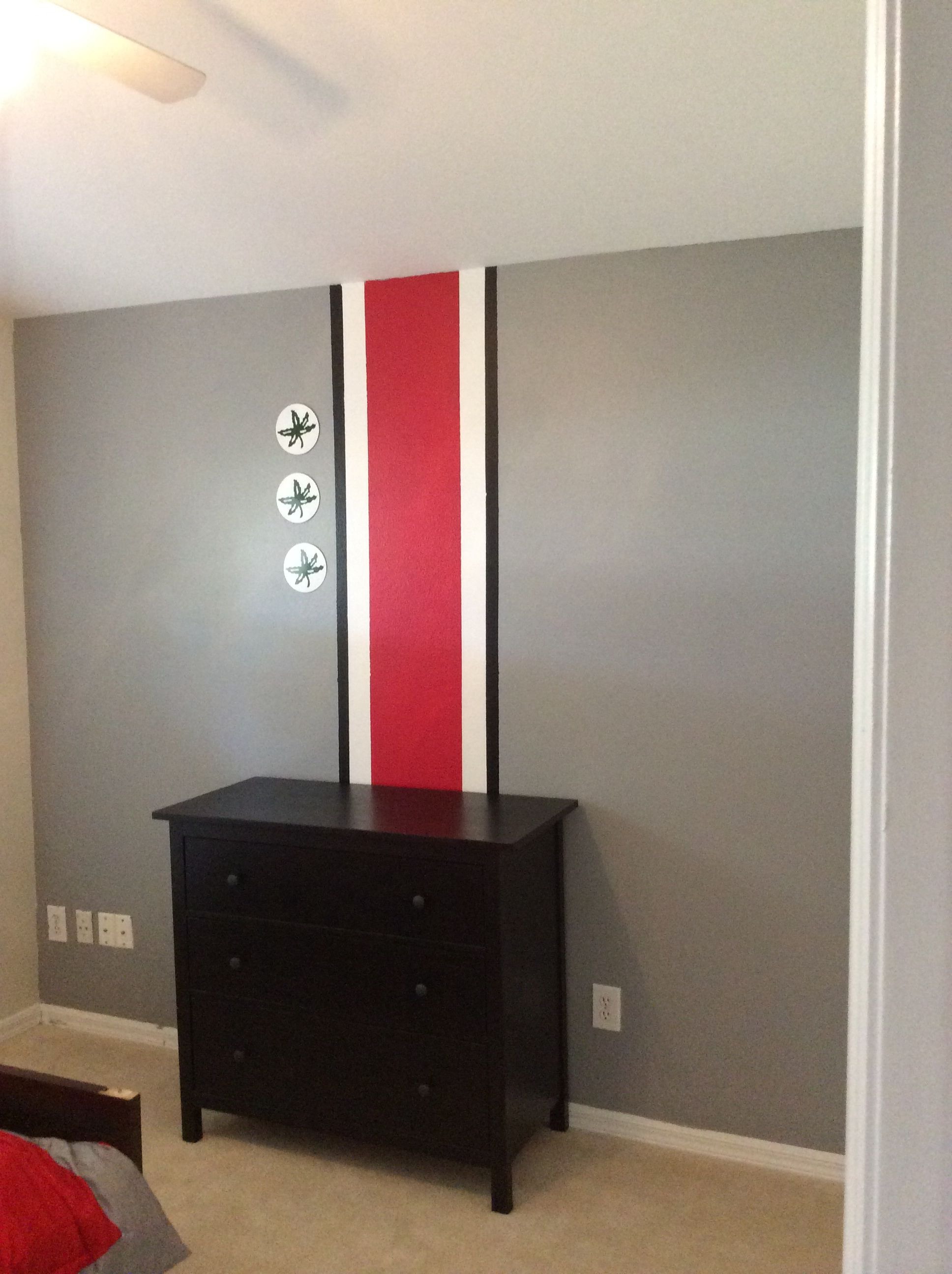 Charming Ohio State Themed Bedroom.