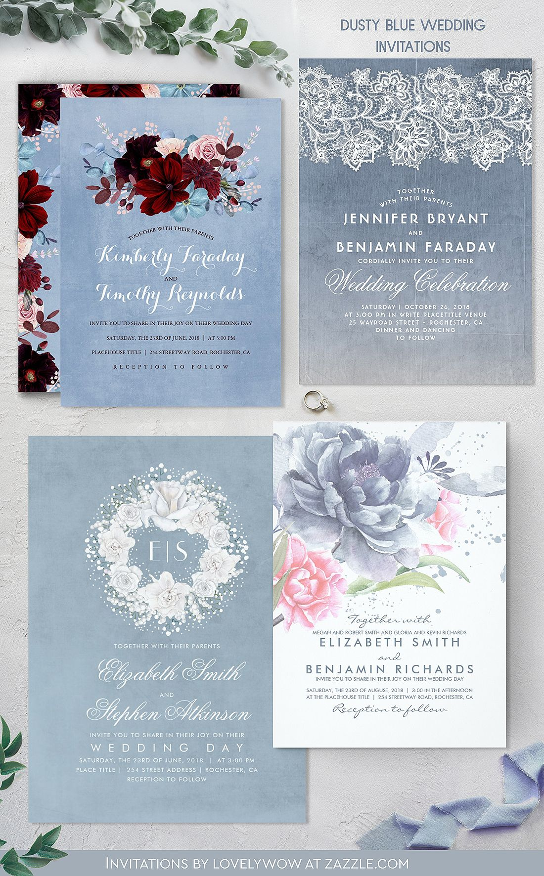 Burgundy And Dusty Blue Floral Elegant Wedding Card Dusty Blue
