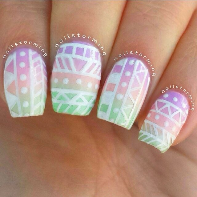 Colourful Easter nails