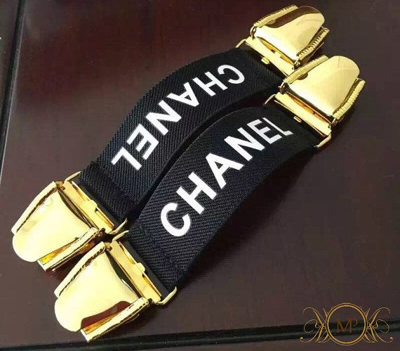 chanel suspenders. vintage chanel suspender band clips by mercipriere on etsy suspenders