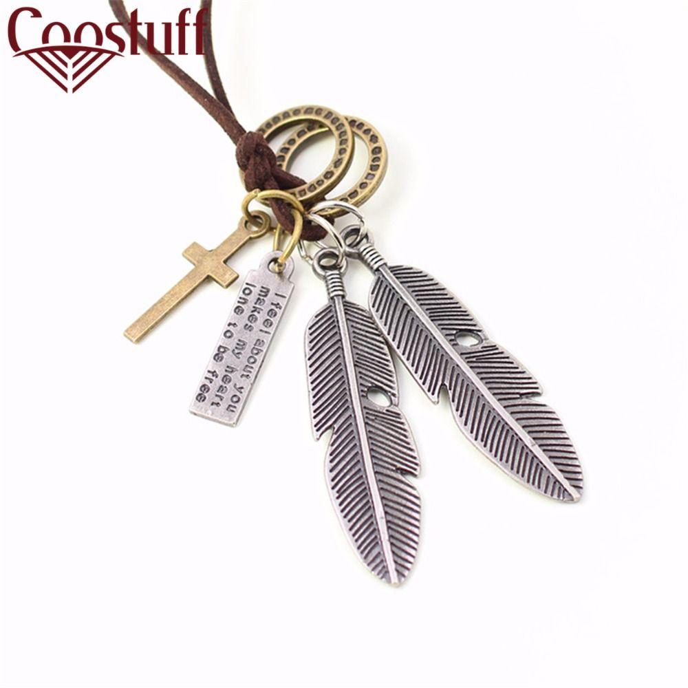 Men necklaces colar collares vintage jewelry men feathers pendant