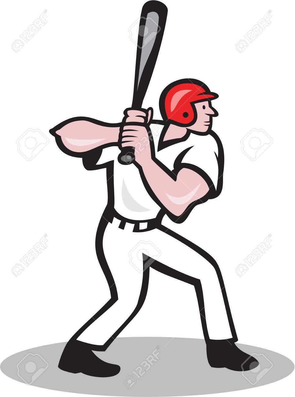 Ilustracion De Un Jugador De Beisbol Bateador Bateo Con El Bate Bateador Visto Desde El Lado Hecho En Estilo De Dibujos Animados Aislado En El Fondo Blanco Estilos De Dibujo Dibujos