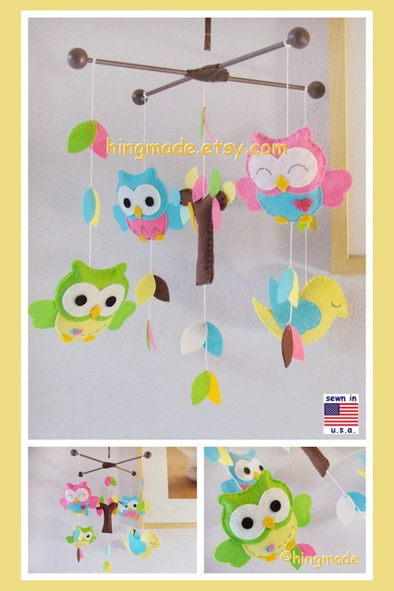 Ceiling Hanging Mobile: Bright Colors Owls And Bird In