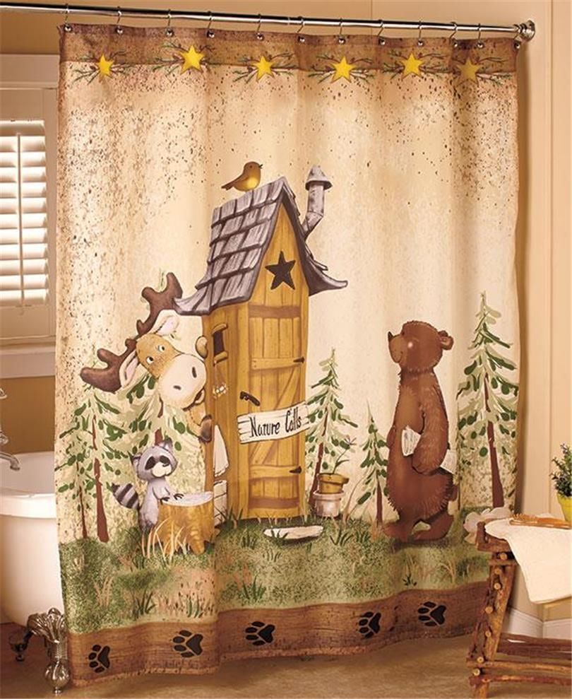 Nature Calls Outhouse Bear Moose Rustic Cabin Lodge Bathroom Shower Curtain Lodge Bathroom