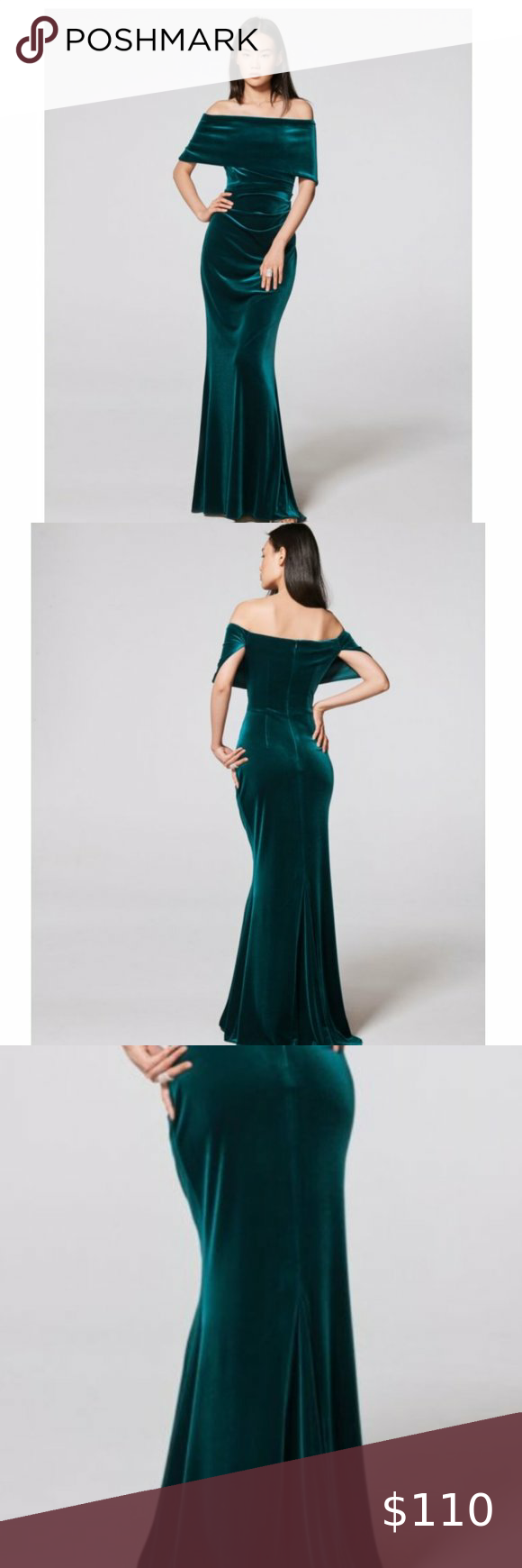 Vince Camuto Green Off The Shoulder Velvet Gown 10 Velvet Gown Gowns Womens Dresses [ 1740 x 580 Pixel ]
