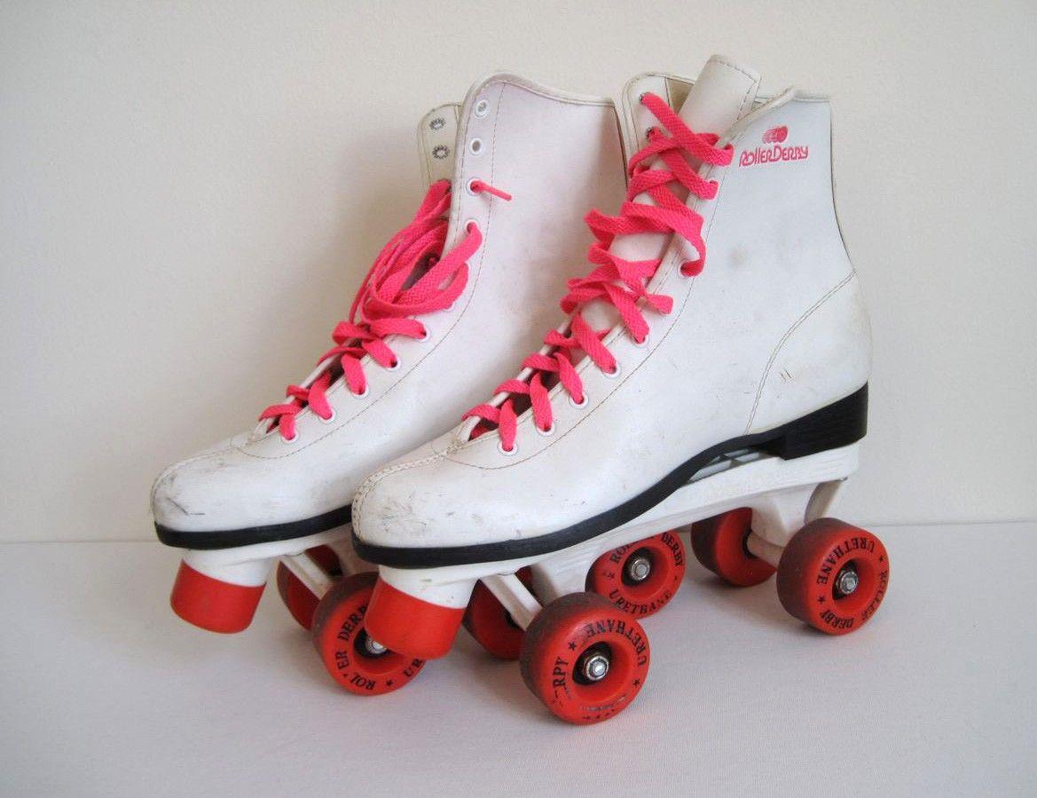 Roller skates in the 70s - Vintage 80s Hot Pink And White Roller Derby Roller Skates